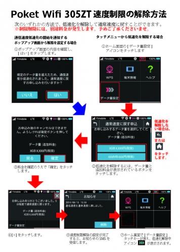 Poket Wifi 305ZT 速度制限の解除方法