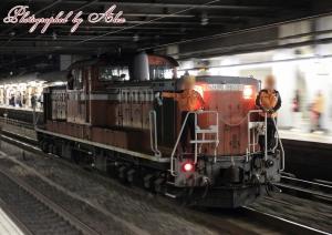 DD51-機回し@京都駅1番線通過