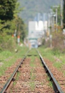境港駅に続く線路