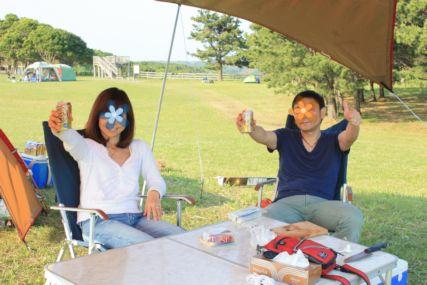 2015GW潮岬キャンプ設営後カンパイ