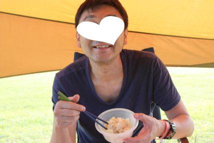 2015潮岬キャンプめし筍とシーチキンの炊込みご飯とひとし