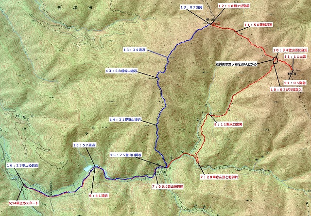北又谷~笠谷~駒ヶ岳H26.6.7軌跡