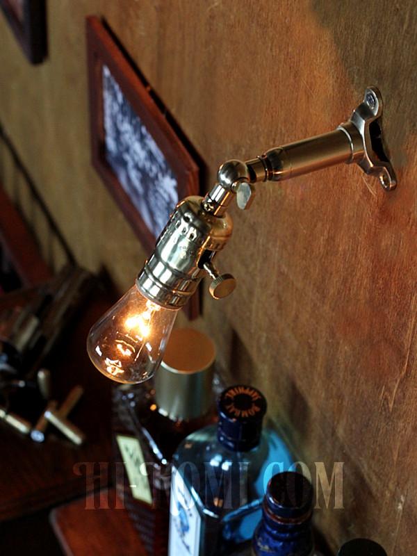 LEVITON社製真鍮ソケット&角度調整付きバレット型ミニブラケットA/アメリカンインダストリアル壁掛照明ウォールランプ