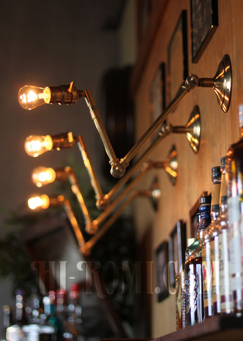 USAヴィンテージ3点角度調整付き真鍮製ブラケットA/アンティーク工業系照明壁掛ランプ
