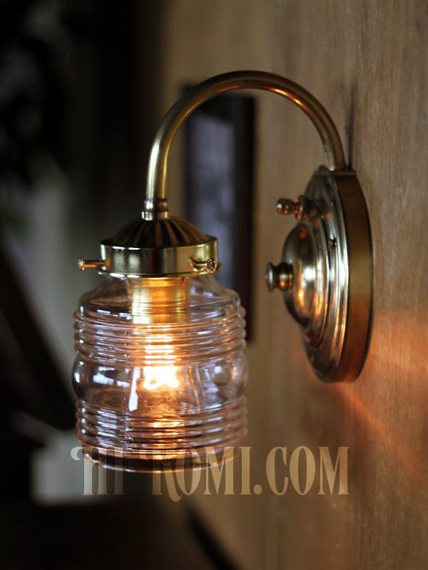 ヴィンテージコロニアルクリアガラスビーハイブシェード真鍮ブラケットランプ/ヴィクトリアン壁照明