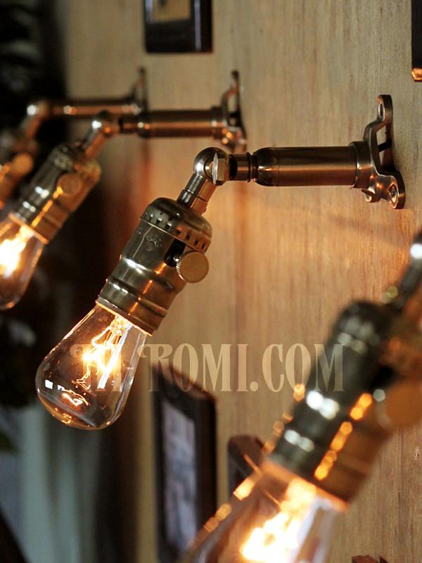 LEVITON社製真鍮ソケット&角度調整付きバレット型ミニブラケットF/アメリカンインダストリアル壁掛照明ウォールランプ
