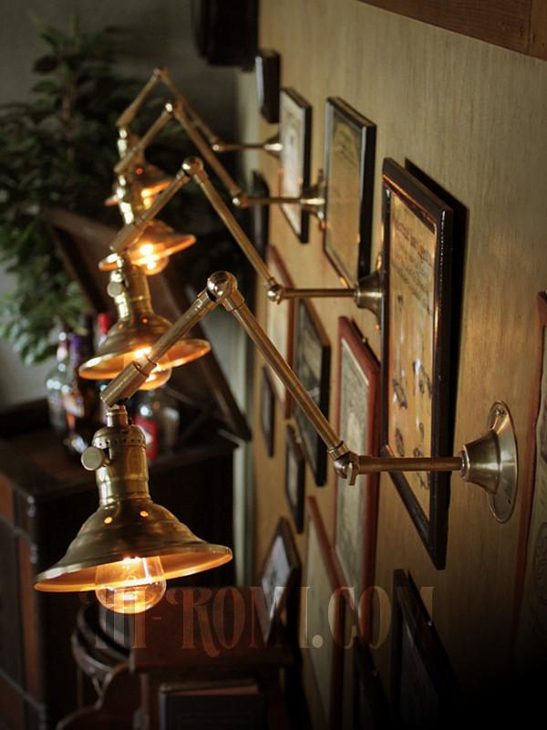 LEVITON社製真鍮ソケット付きインダストリアル3点角度調整&シェード付きブラケットランプE/アメリカン作業灯ランプ壁掛照明ウォールライト