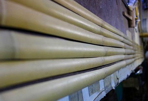 6分割に割られた竹