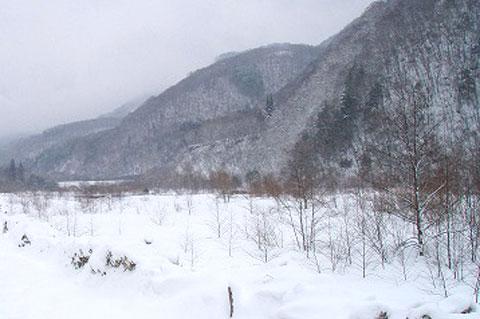 雪に埋もれる蒲田川