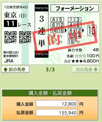 【的中馬券】0208東京11(日刊コンピ 馬券生活 的中 万馬券 三連単 札幌競馬)