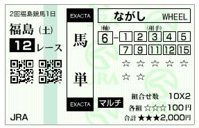 【馬券】0704福島12(日刊コンピ 馬券生活 的中 万馬券 三連単 札幌競馬)