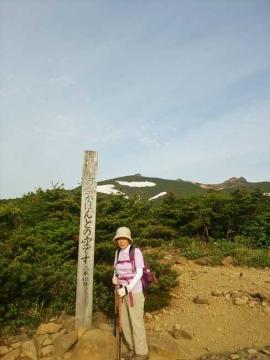 薬師岳にある「この上がほんとの空」の標識