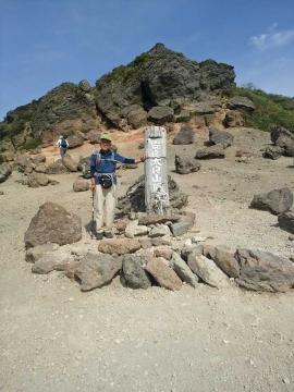 安達太良山の山頂前で
