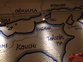 瀬戸内の地図(店内壁)