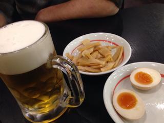 ビールとメンマ&半熟卵