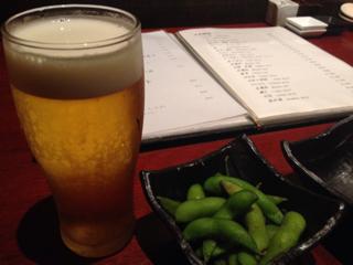 ビールとお通しの枝豆