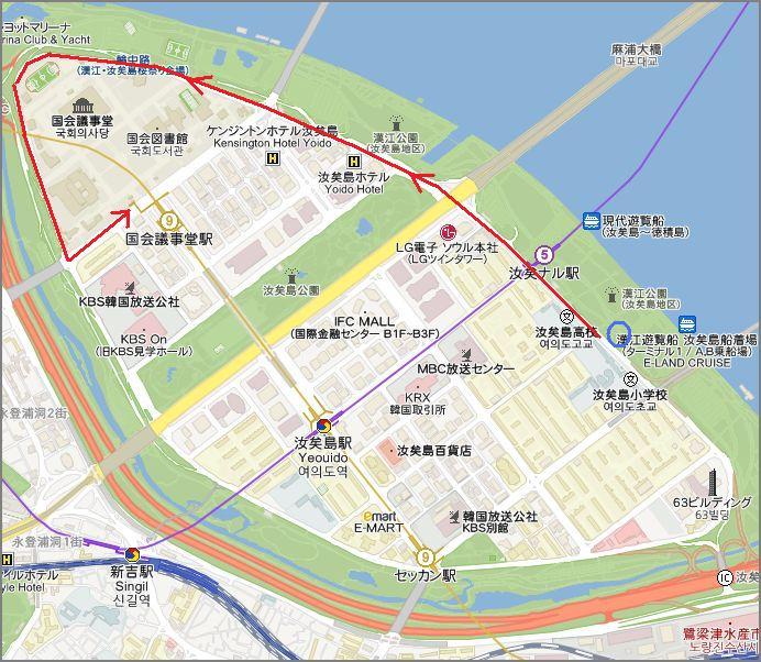 汝矣島の地図