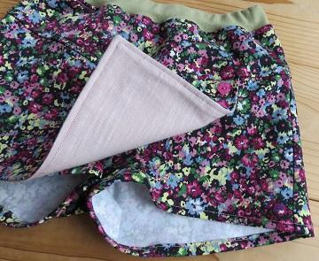 花柄巻きスカート風パンツ110アップ