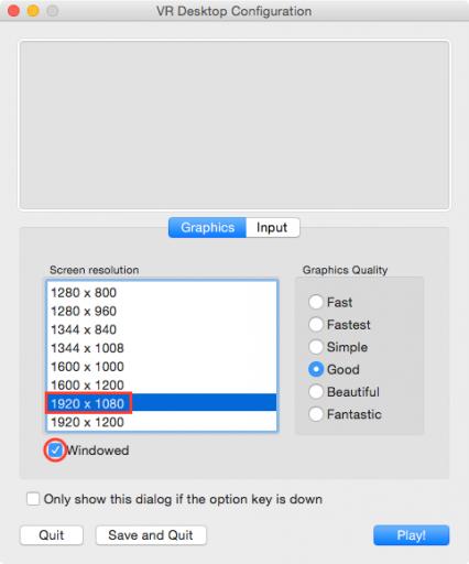 VR Desktop Configuration