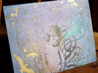 ATC(アーティストトレーディングカード)スタンプ&パンパステル