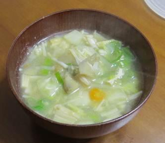 白茎ゴボウ入り味噌汁