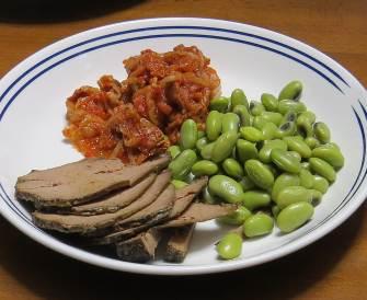 浸し豆とキムチと牛レバー