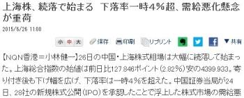 news上海株、続落で始まる 下落率一時4%超、需給悪化懸念が重荷