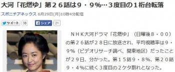 news大河「花燃ゆ」第26話は9・9%…3度目の1桁台転落