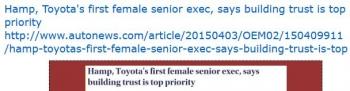 tenHamp, Toyotas first female senior exec, says building trust is top priority