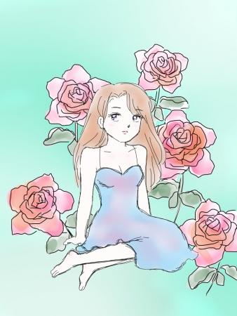 ピンクオレンジバラ×少女