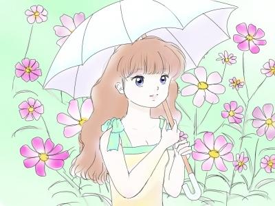 日傘少女+コスモス