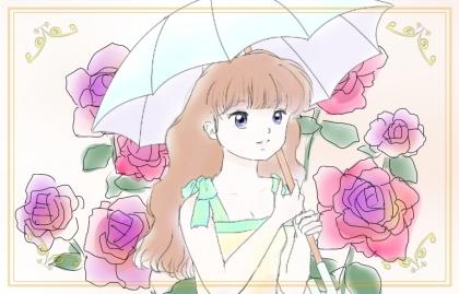 バラ+日傘少女+枠