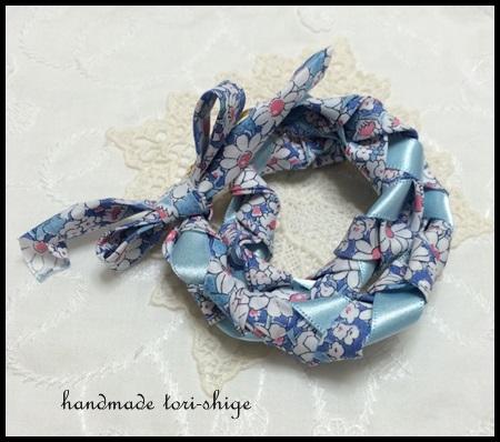 三つ編みブレスレット アリスW ブルー