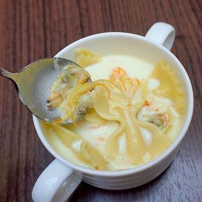 ファルファーレと魚介類のスープパスタ サフラン風味03@東京ベイ舞浜ホテル FINE TERRACE 2014年12月