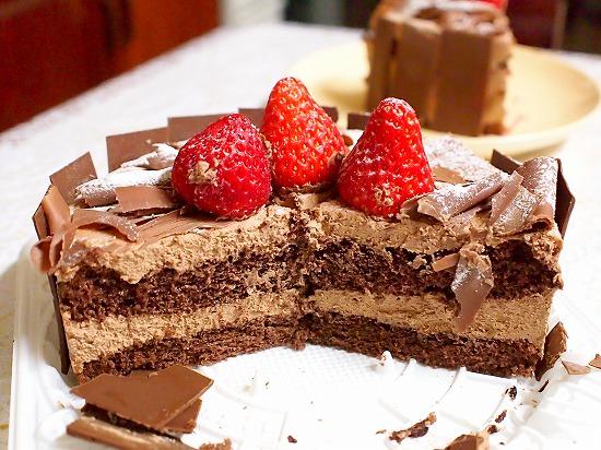 生チョコデコレーションケーキ06@フランス菓子 シェひらぬま 2014年