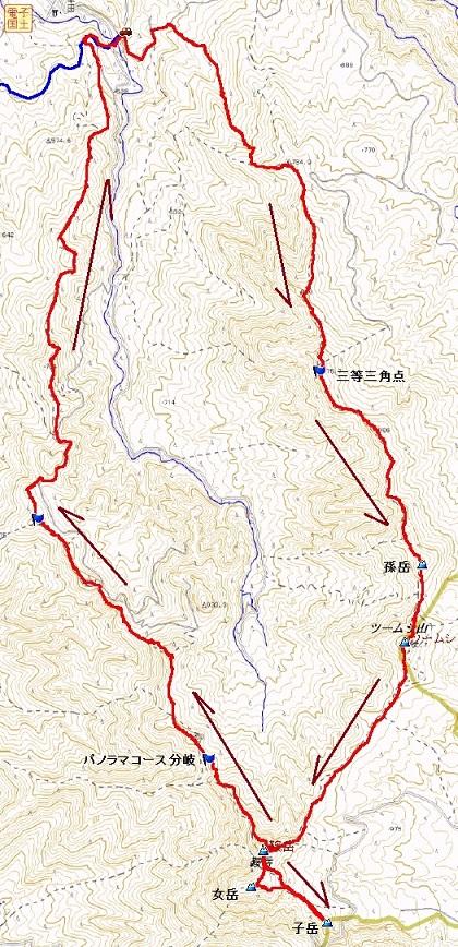 鞍岳大周回概略マップ
