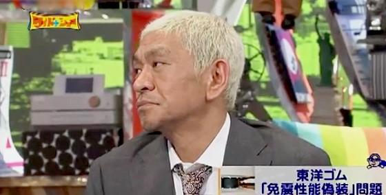 ワイドナショー画像 東洋ゴム免震性能偽装問題 刑事罰がないことあきれる松本人志