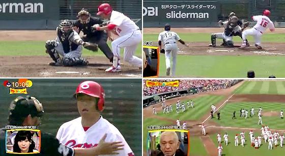 ワイドナショー画像 のけぞるような内角攻めをされ怒る黒田投手