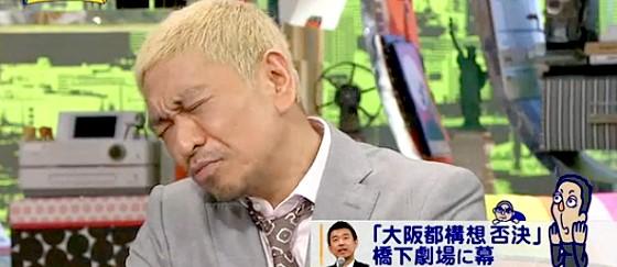 ワイドナショー画像 松本人志 橋下徹の大阪都構想の住民投票が反対多数になったことを残念がる 2015_05_24