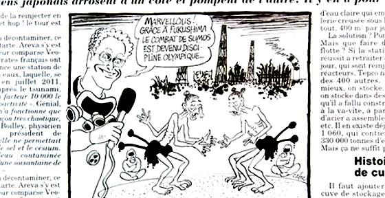 ワイドナショー画像 フランスの東京オリンピックに対する風刺画 放射能で3本の腕や脚になった力士 2015_01_18