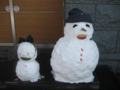 150103初詣⑬帰り道の雪だるま