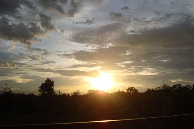 ロッジからの夕日!