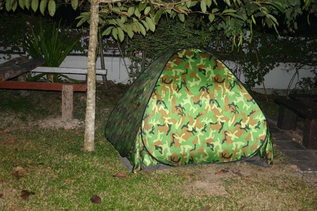 ロッジに テント を貼りました