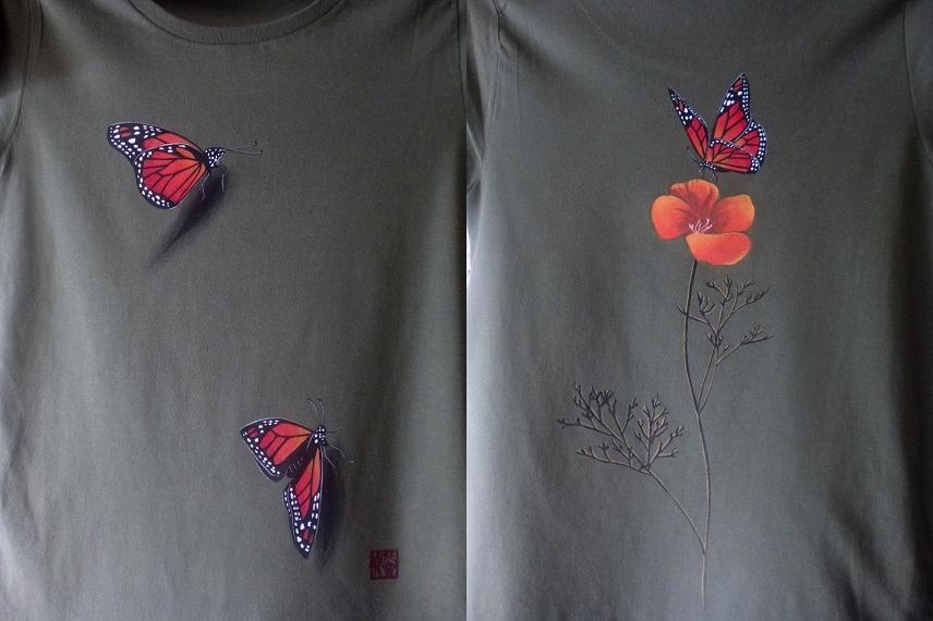 手描きTシャツ オオカバマダラとカリフォルニアポピー