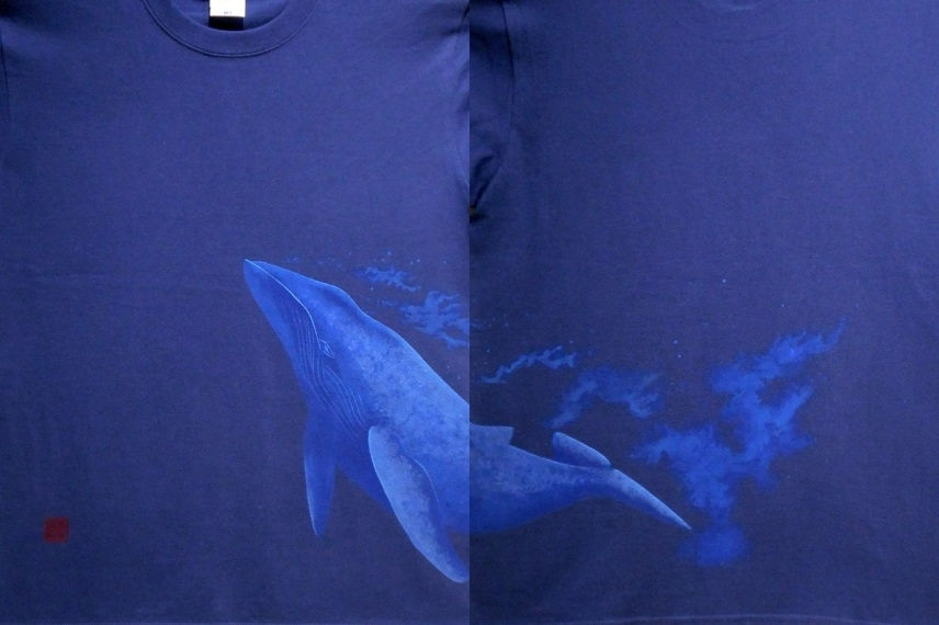 手描きTシャツ クジラ
