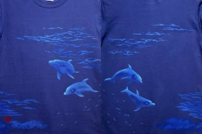 手描きTシャツ イルカ