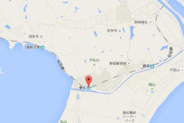 野蒜駅付近googleの地図20150530