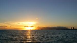 サンセットカタマランから見た夕日