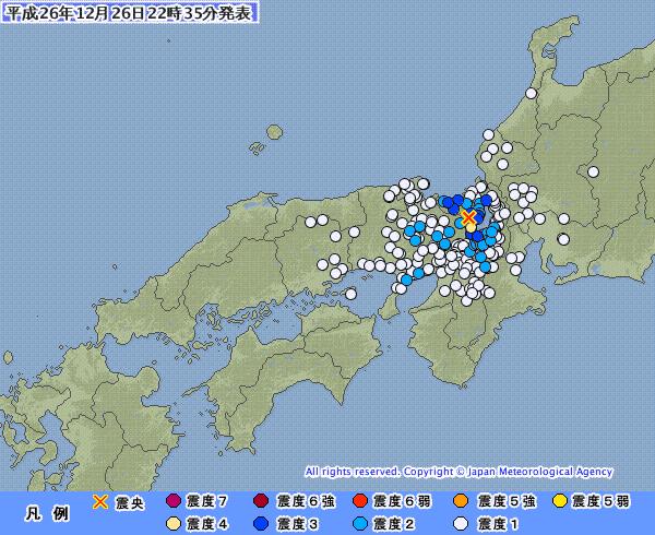滋賀県で震度4の地震 M4.2 震源地は滋賀県北部