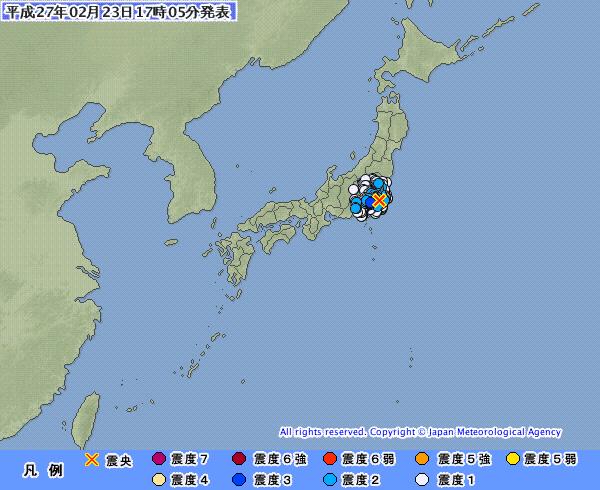 神奈川県で最大震度3の地震発生、震源は千葉県北西部 M4.5